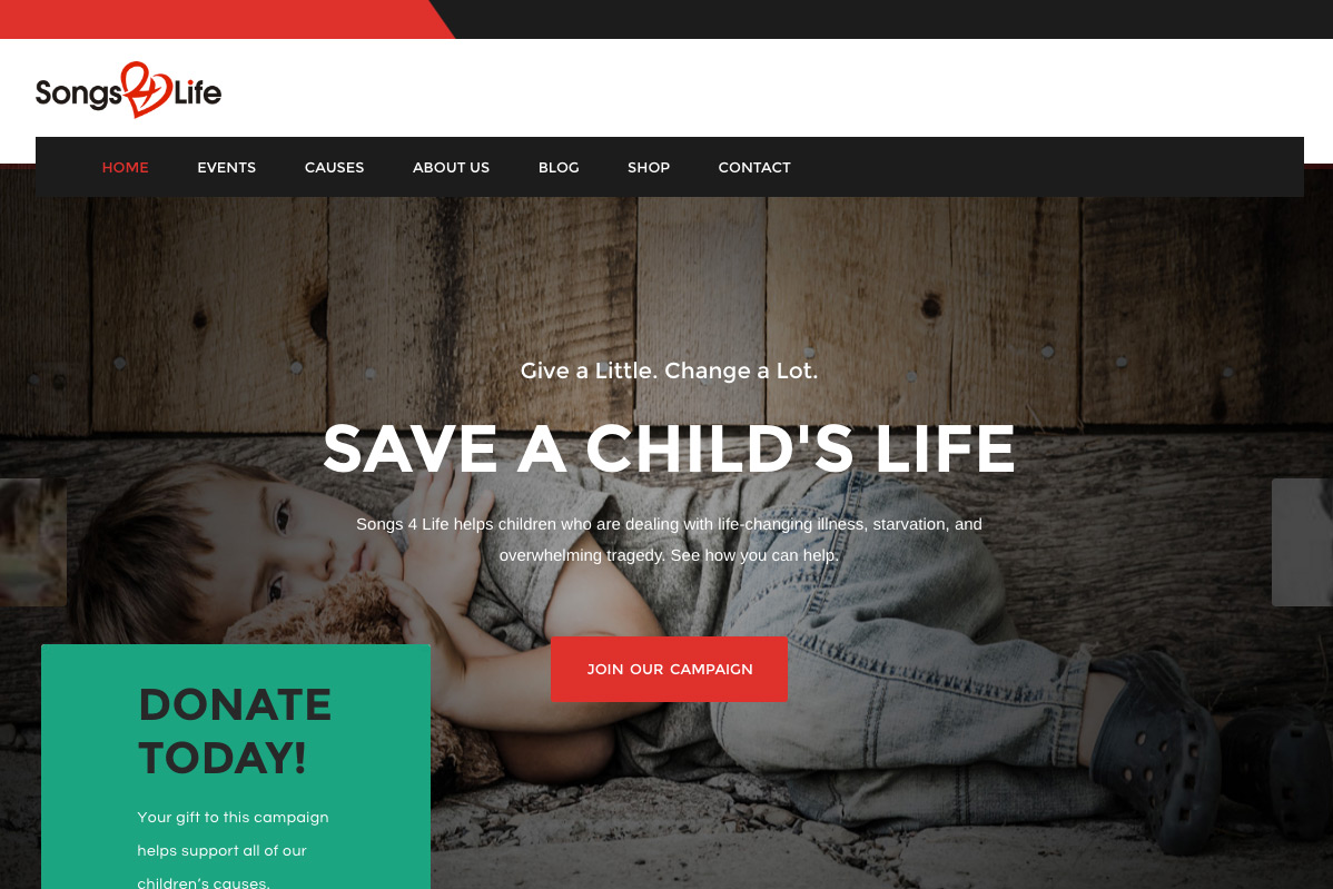 Songs 4 Life Charity Website