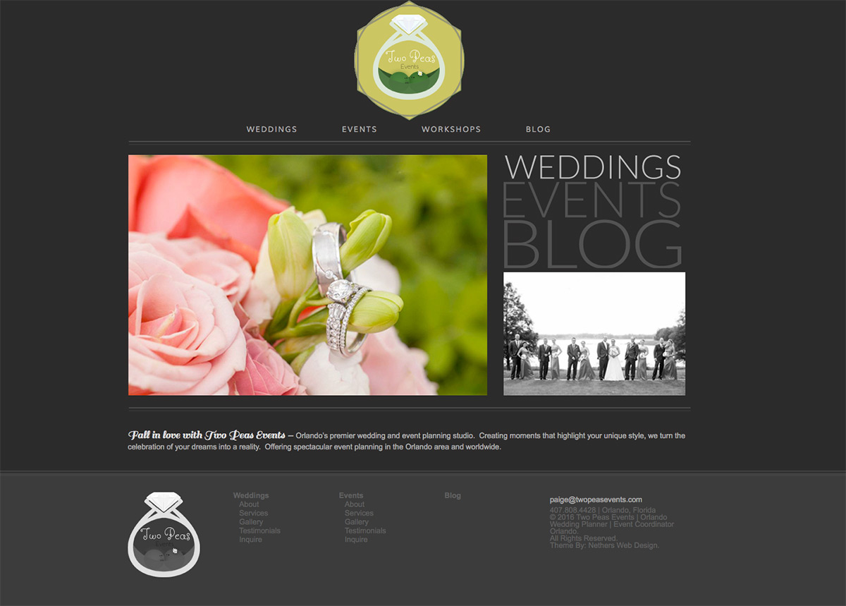 Website Design for Two Peas Events Company