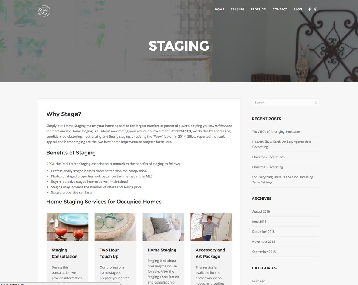 Internal Layout for Home Staging Website