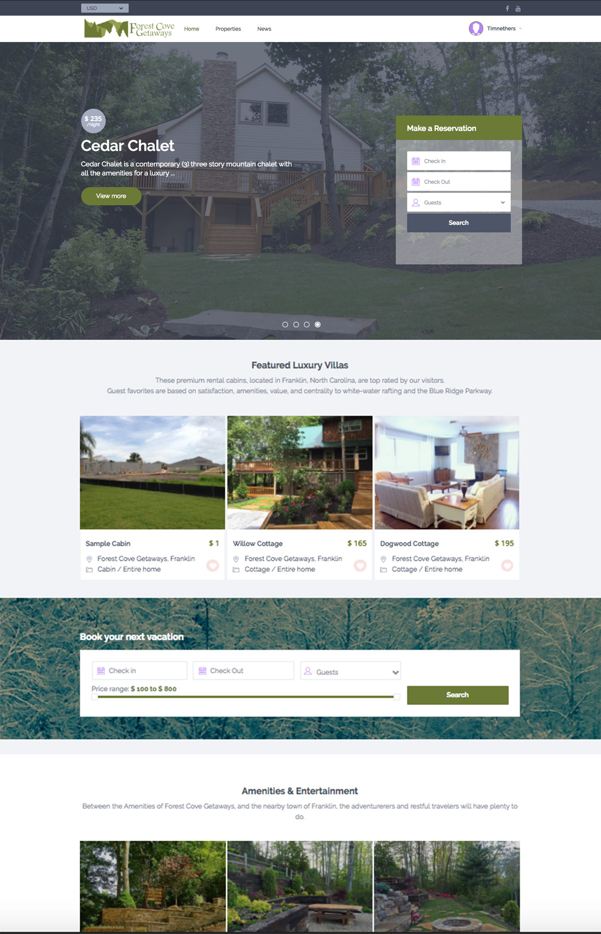 Rental Cabins Website Design
