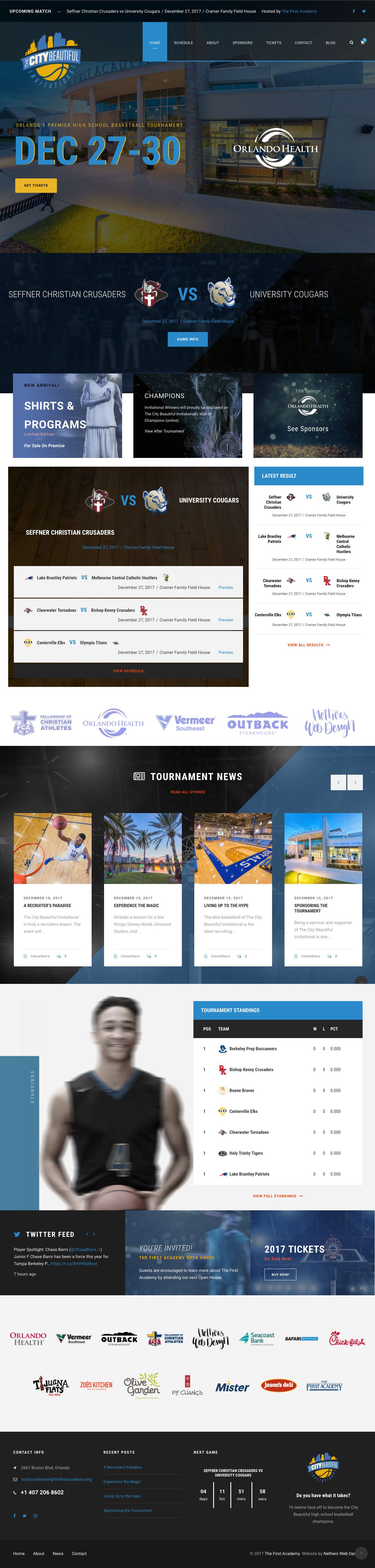 The City Beautiful Invitational - Website Design for Basketball Tournaments