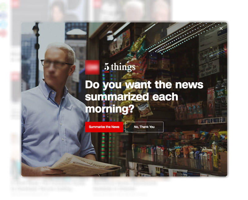 Call to Action using a Modal Popup for a Popular News Agency