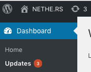 Wordpress Dashboard Showing Updates Link