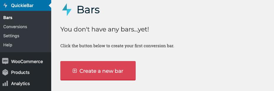 Navigate Quickie Bar Menu